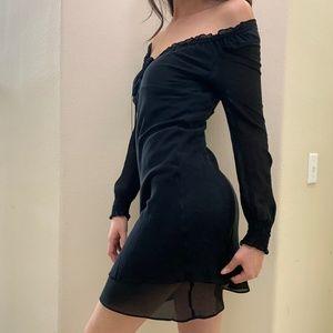 Black EXPRESS Ruffle Ruched OFF SHOULDER Dress 5/6